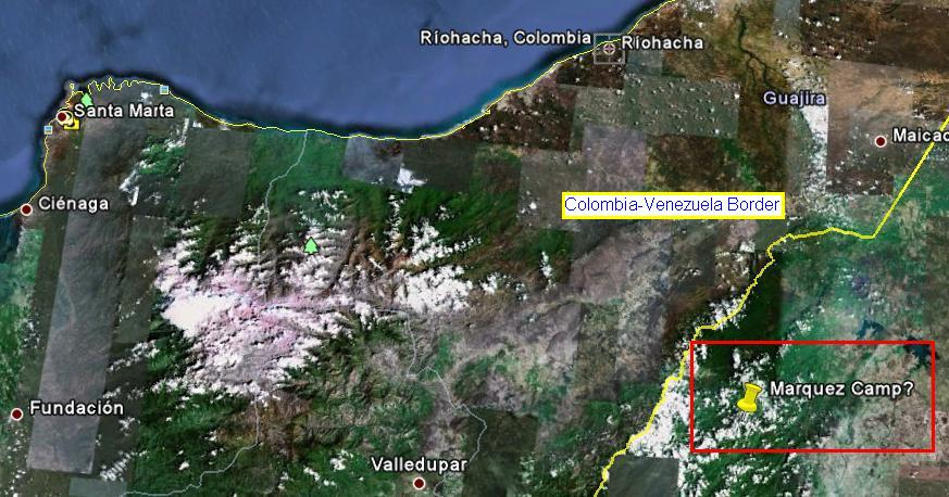 Reported location of FARC leader base camp